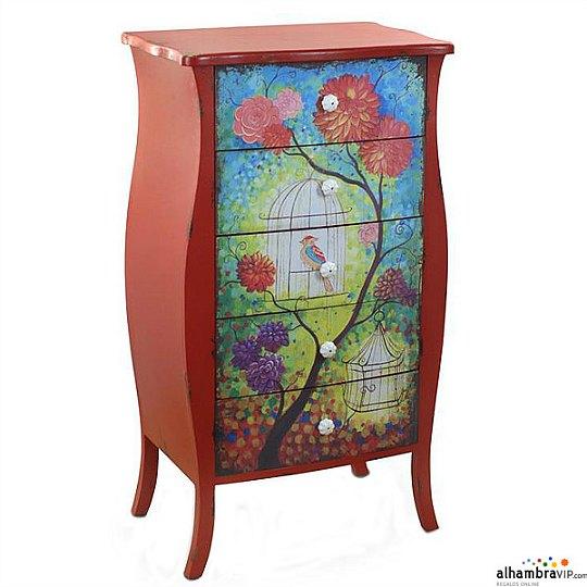 cmoda de estilo vintage armazn en color rojo y decoracin pintada a mano medidas x x cm precio euros en