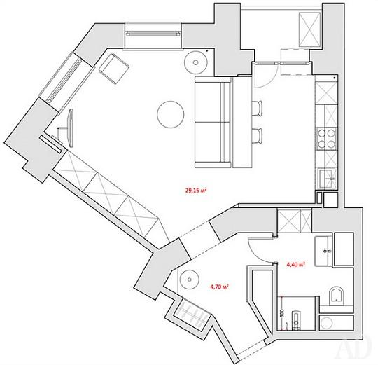 Apartamento de soltero de 38 metros cuadrados