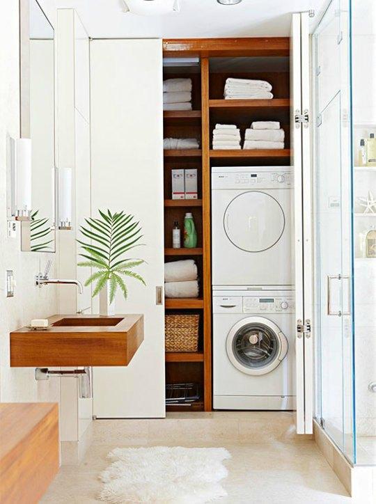 creamos un espacio con efecto armario donde colocarar la lavadora junto a la secadora un conjunto perfecto de lavado y secado muy practico