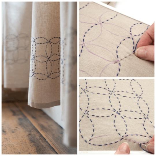 Sencillo bordado para decorar una cortina