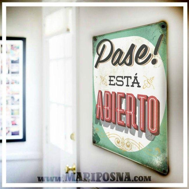Letrero Baño Vintage:Carteles metálicos vintage de Mariposna