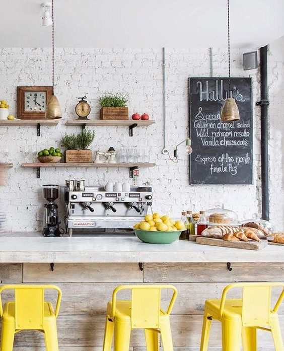 White Kitchen With Yellow Accents: 10 Cocinas Con Ladrillo Visto. Decoración Hogar, Decoralia.es