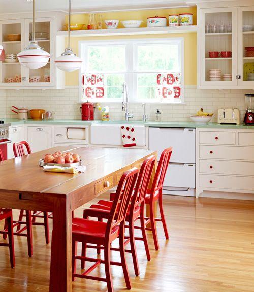 Cocina de color Rojo, decoración cocinas, Decoralia.es