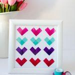 Un cuadro de corazones de washi tape