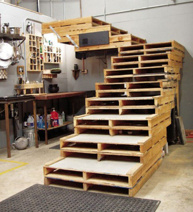 ideas con palets una escalera