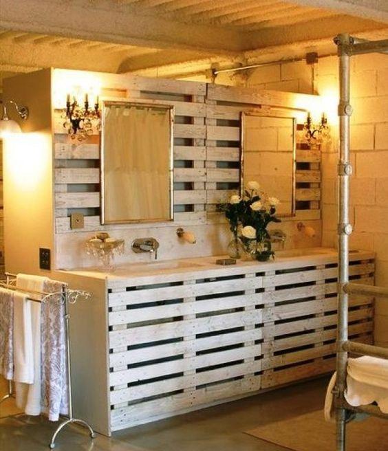 Mueble de baño fabricado con palets
