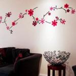 Decorar una pared con flores de fieltro