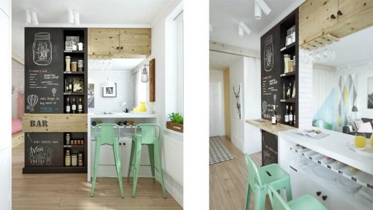 Amueblar Baño Pequeno:Entre el salón y la cocina una pequeña pared y una barra de