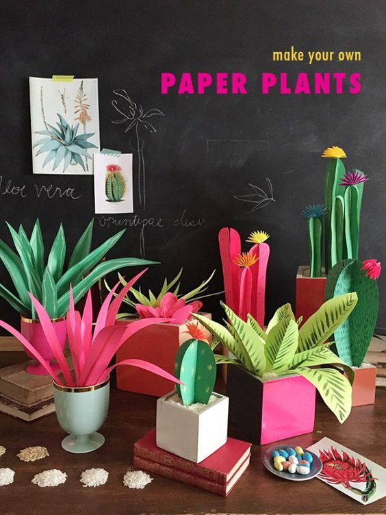 Decorar con plantas de papel