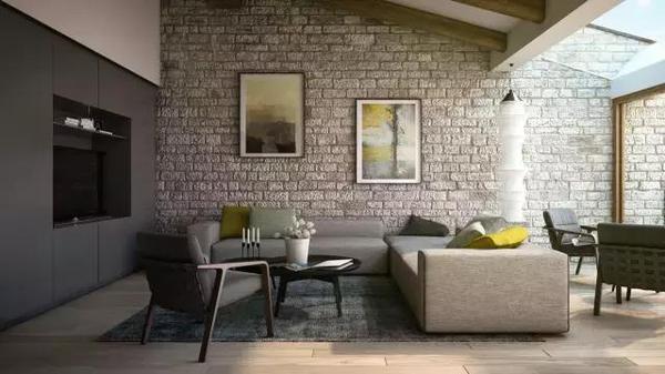 salones con pared de piedra