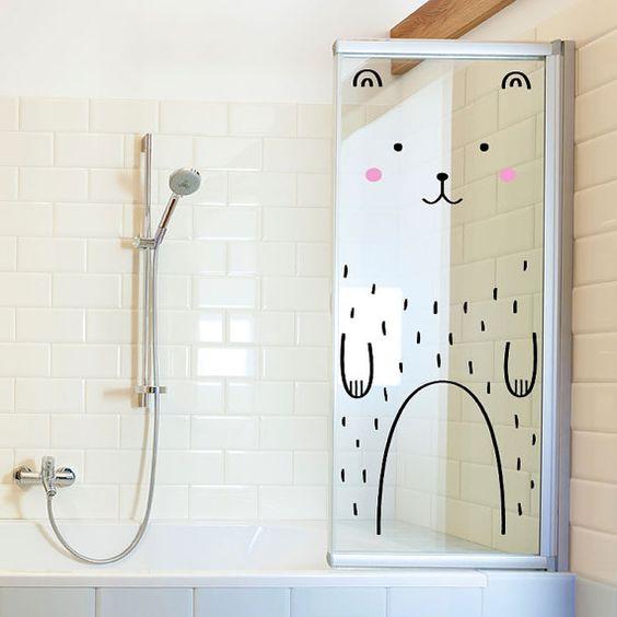 Baño De Regadera En Ninos: de ducha con un vinilo