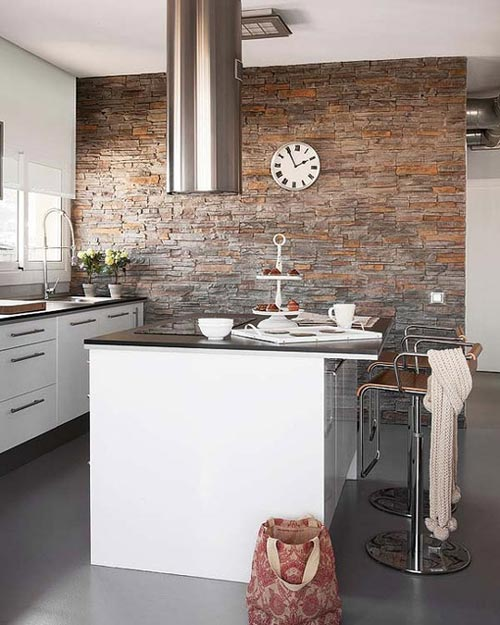Paredes de piedra en la cocina - Salones decorados con piedra ...