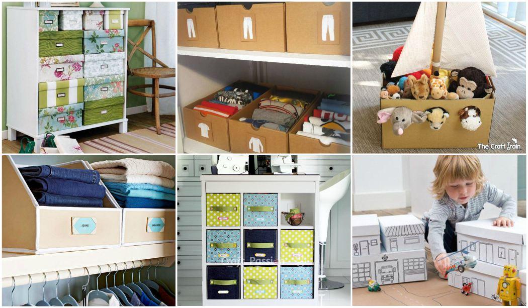 12 Manualidades para organizar con cajas de cartón