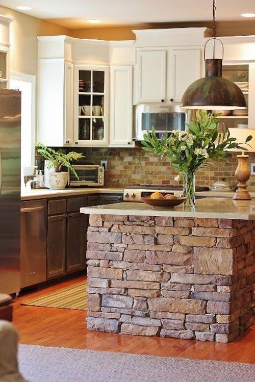 Paredes de piedra en la cocina for Paredes para cocina