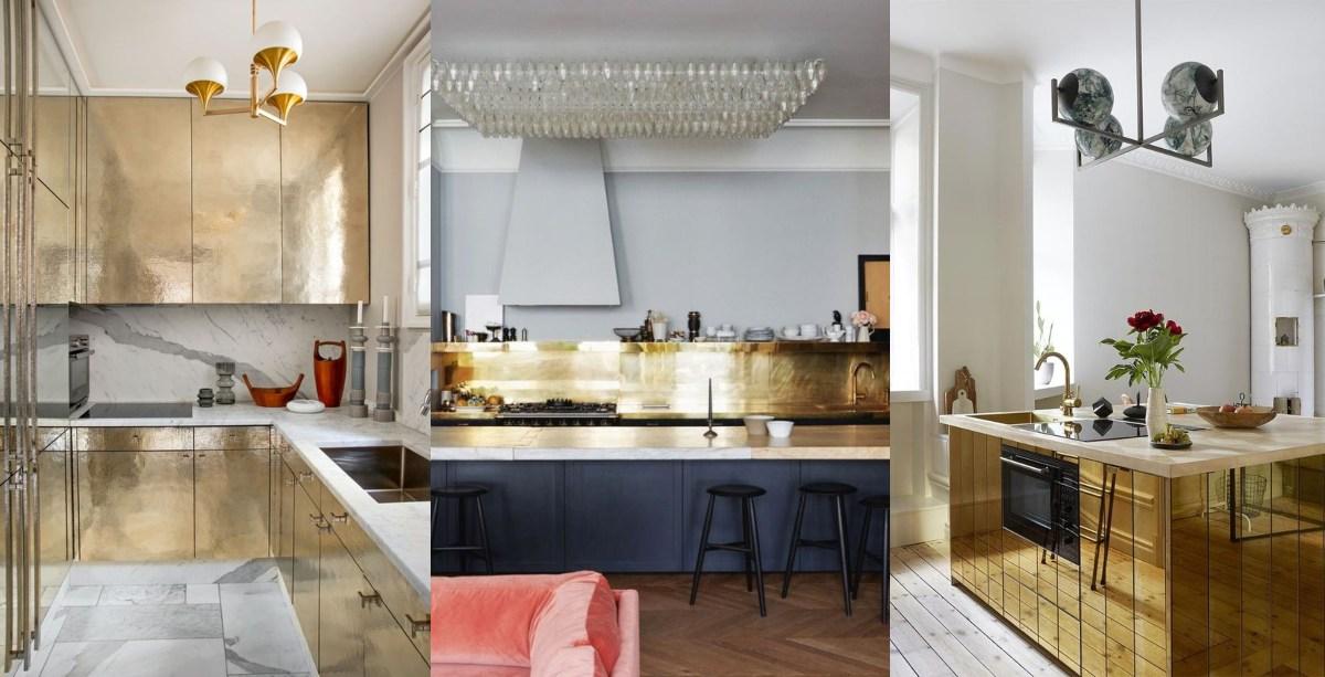 Cocinas con muebles dorados, con isla dorada o con frente o salpicadero dorado