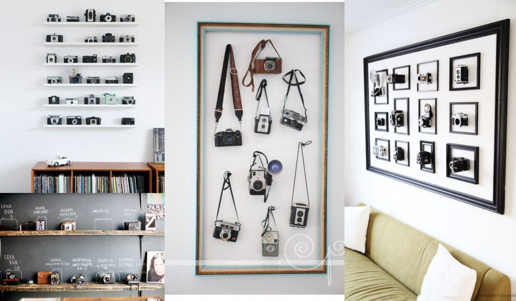 Decorar con colecciones: cámaras de fotos