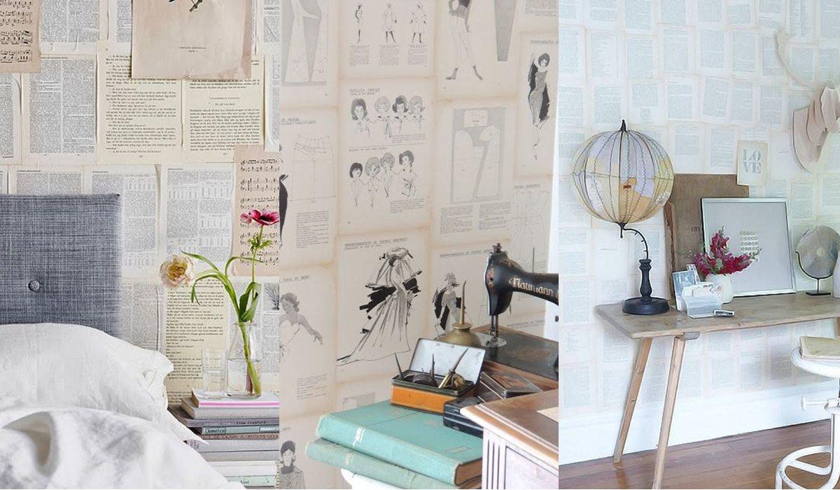 Empapelar la pared con hojas de libros