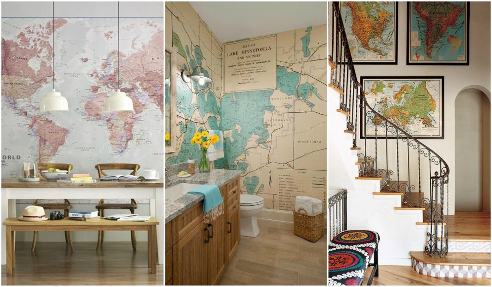 Ideas para decorar con mapas 28 fotos de ambientes decorados - Ideas para decorar paredes con fotos ...