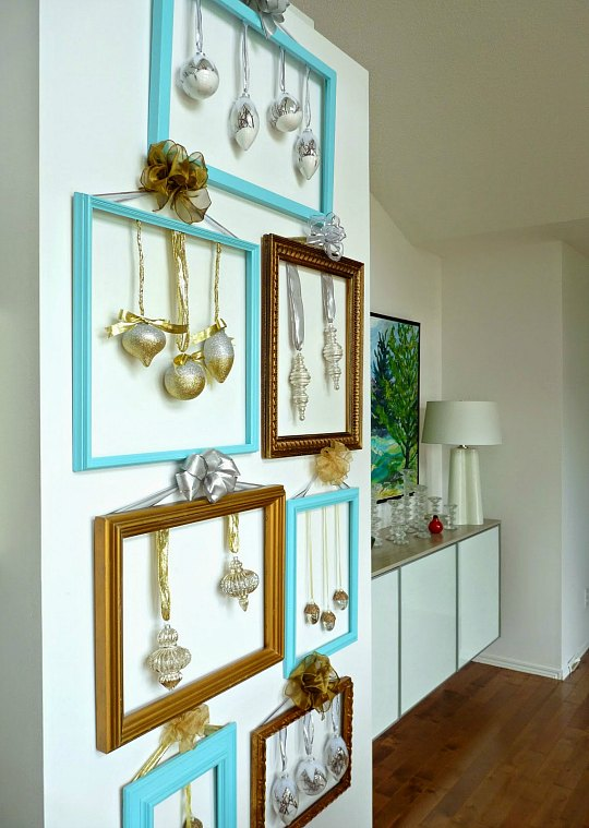 Rbol de navidad de pared realizado con marcos - Arbol de navidad de pared ...
