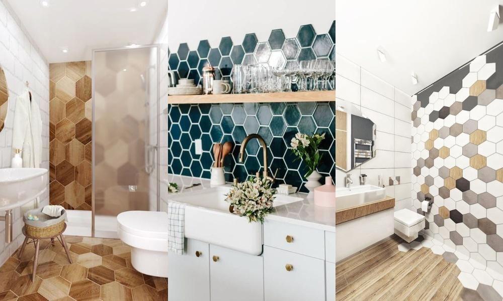 Azulejos hexagonales en cocinas y baños