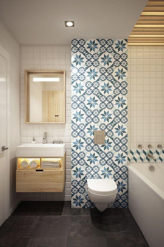 Ba os con azulejos hidr ulicos inspiraci n for Cubrir azulejos bano