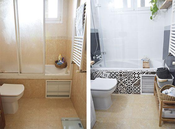 Baños con azulejos pintados
