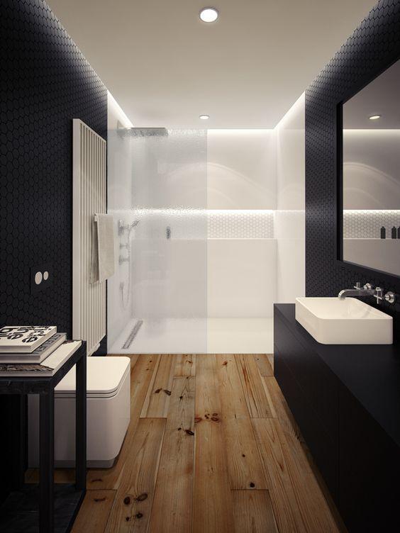 Ba os en blanco y negro decoraci n hogar for Banos en blanco y negro