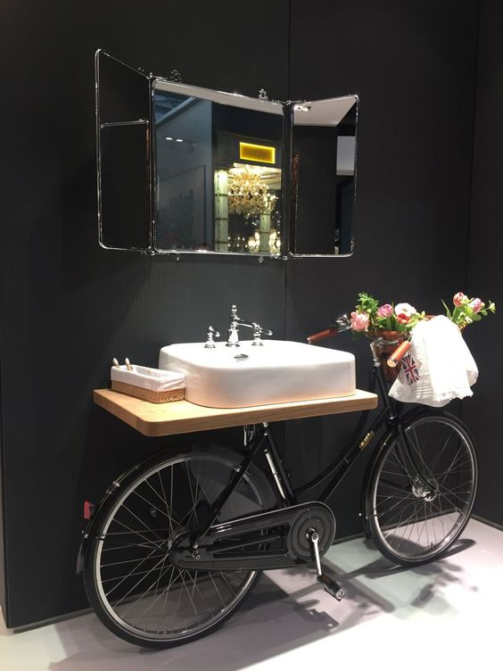 A bicycle in the bathroom