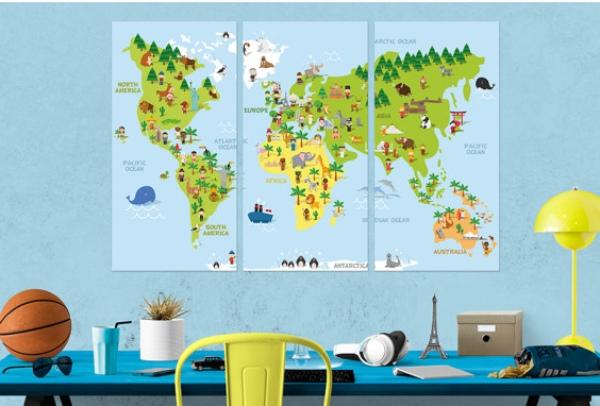 Cuadros mapamundi para niños