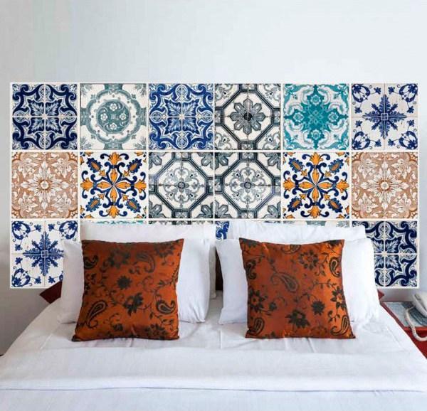 Azulejos hidr ulicos en el cabecero decoraci n hogar - Cabeceros originales hechos a mano ...