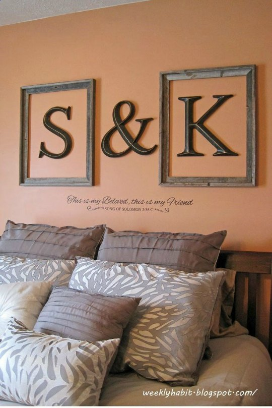 Decorar la pared del cabecero con letras - Letras para decorar paredes ...