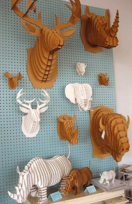 Cabezas de animales de Cartón