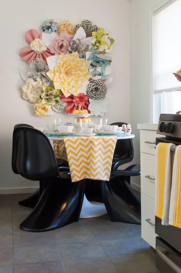 Decoración de cocinas con flores de papel