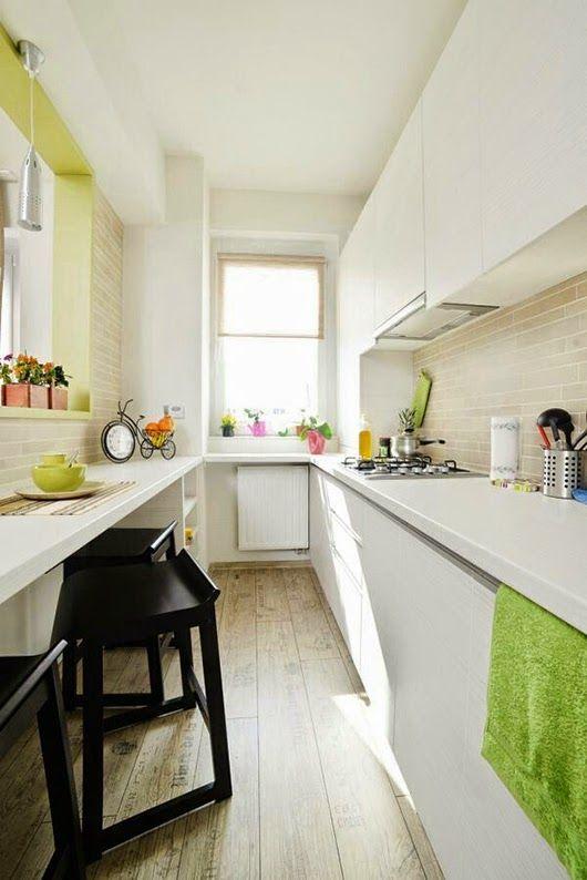 Cocinas estrechas ideas for Amueblar cocina alargada