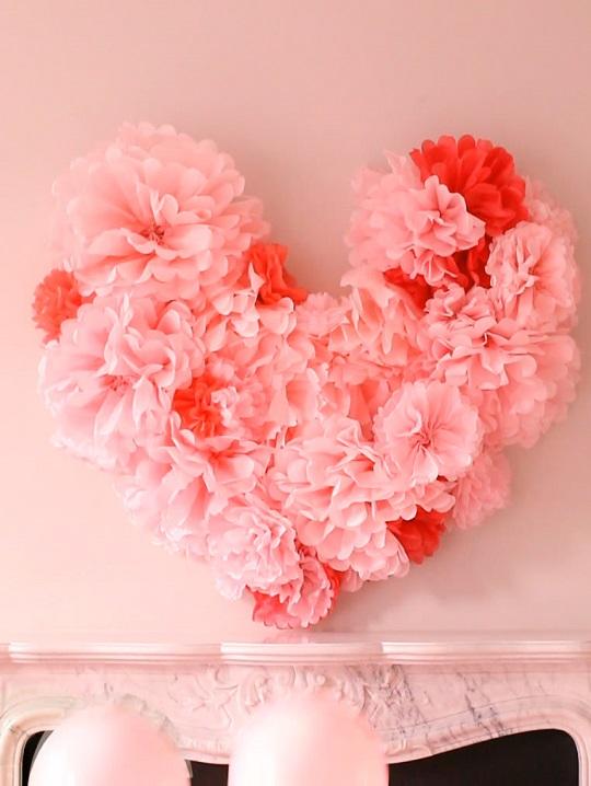 Corazón papel de seda San Valentín