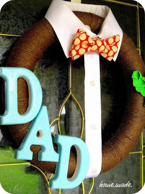 Manualidades Día del Padre, corona para la puerta.