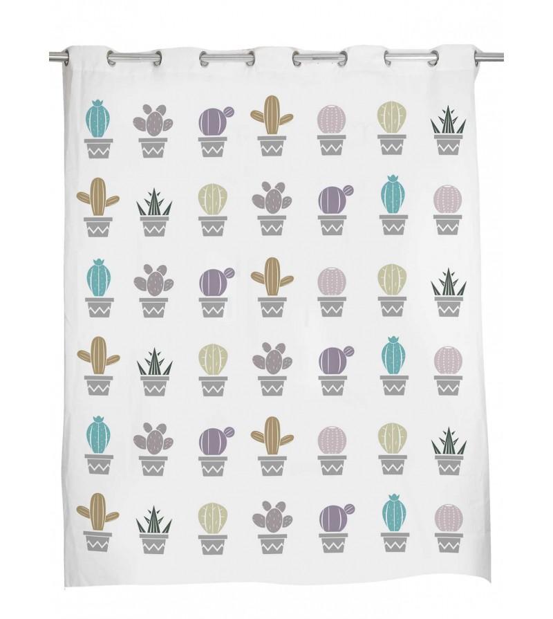cortina baño cactus