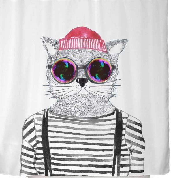 Cortina ducha gato gafas