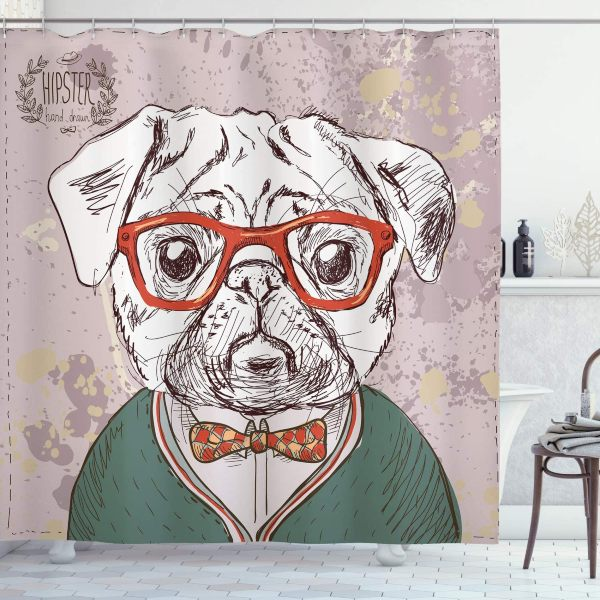 Cortina ducha perro