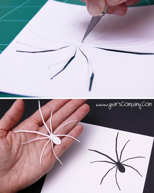 Cuadro arañas de papel para decorar en Halloween