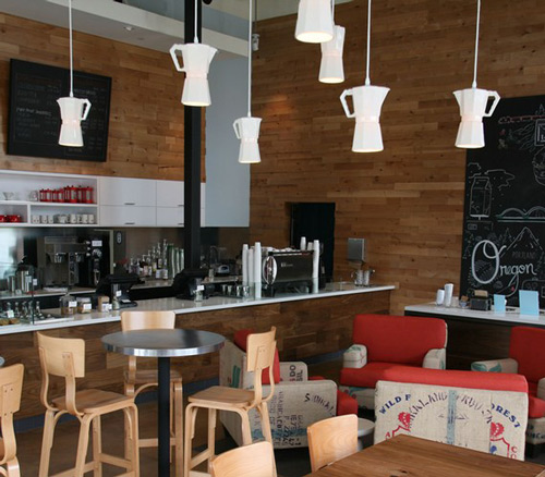 L mparas originales iluminaci n de una cafeter a for Decoracion cafeterias modernas