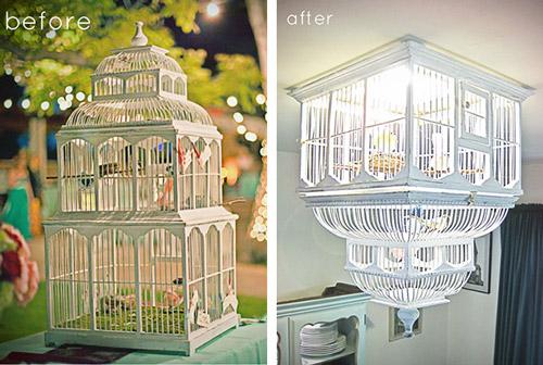 Reciclando objetos: lámpara jaula