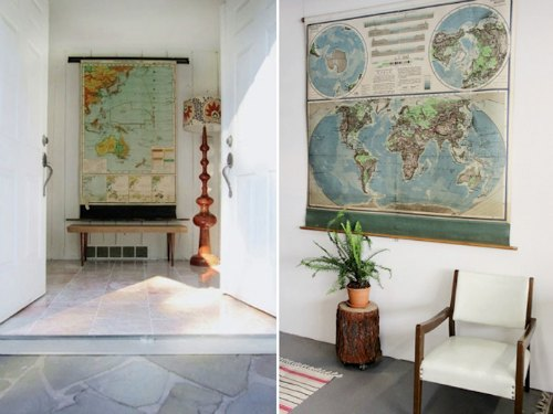Ideas para decorar con mapas el recibidor