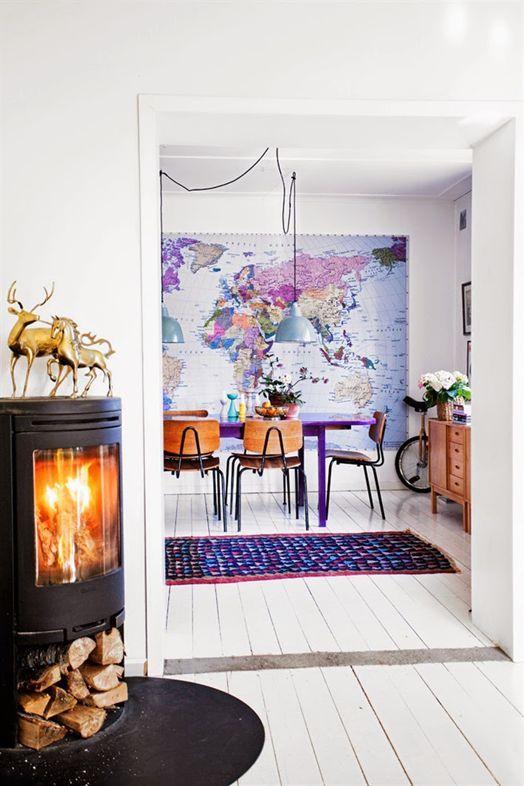 Ideas para decorar con mapas murales