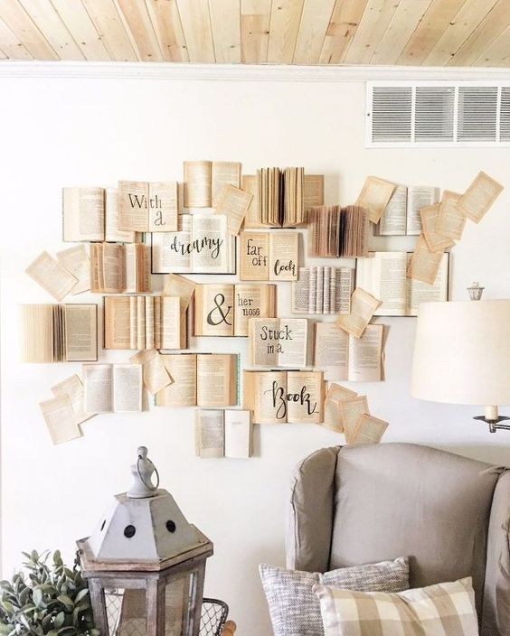 Decorar la pared con libros