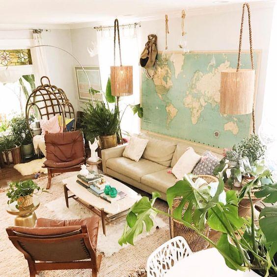 Ideas para decorar con mapas el salón