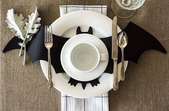 Decoración mesa murciélago