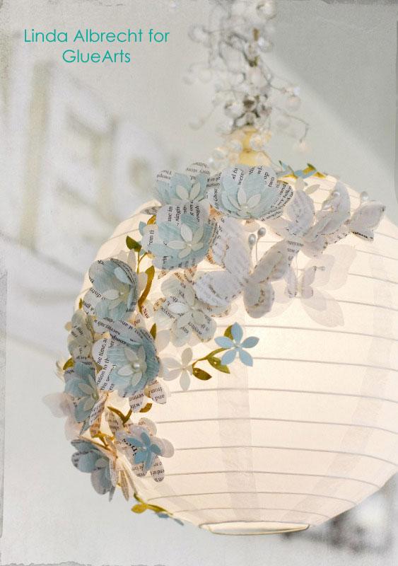 Mariposas y flores de papel para decorar una l mpara - Como hacer mariposas de papel para decorar paredes ...