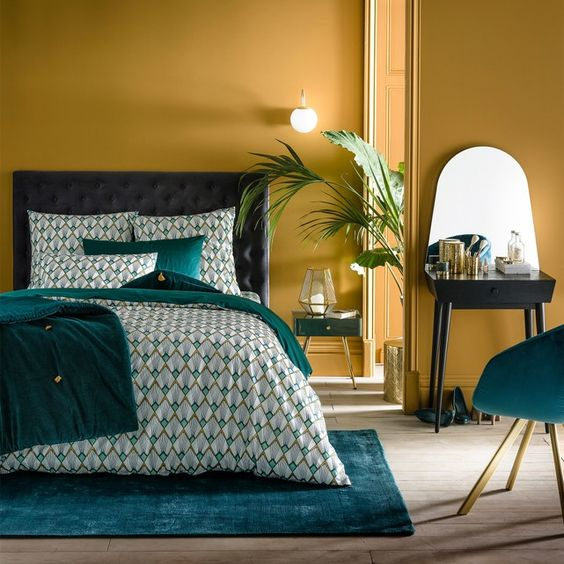 Dormitorio amarillo mostaza
