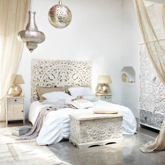 Dormitorios en blanco y dorado